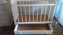 White wooden cot for sale with drawer at the bottom