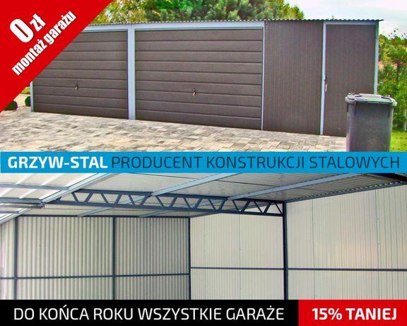 Młodzieńczy Garaż Blaszany 8x6m - Grafitowy - garaże blaszane,wiaty,hale DM32
