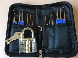 20 Piece Lock Pick Set + Transparent Padlock with keys