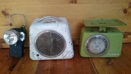 Vintage food scale, heater and light