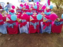 kids chairs and full birthday set up packages