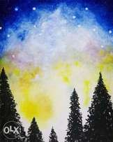 Beautiful night sky painting