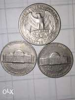 2 Coins of five cents Dollar from 1968 & 1975 E Pluribus UNUM