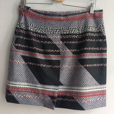 Spódnica retro na podszewce wzory geometryczne RM1000 M zara