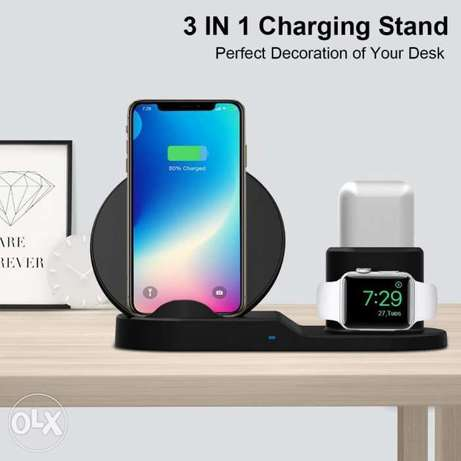 3 in 1 Fast Wireless Charger for Mobiles , Apple AirPods & Apple Watch