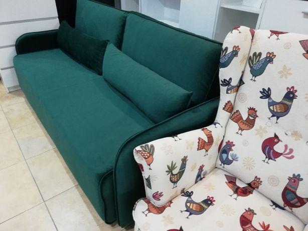 Kanapa Sofa Rozkładana Butelkowa Zieleń Musztarda 200 Kolorównowy
