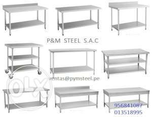 Steel work table sink hood all available all size