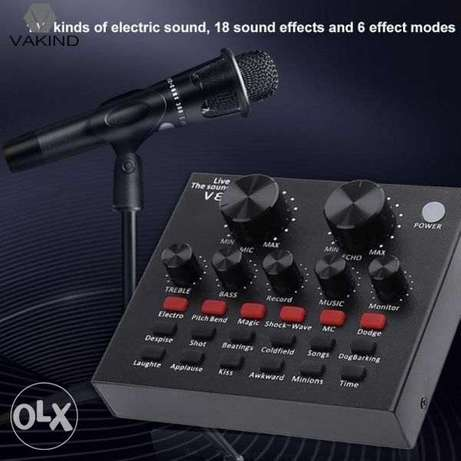 V8 Sound Card Voice Changer | E300 Corded Microphone Set With Tripod a