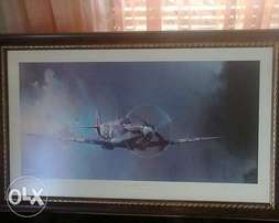 Spitfire painting by Barrie a.f Clark framed