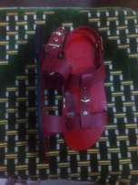 Red strap on sandal