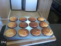 Freshly baked vanilla and chocolate muffins