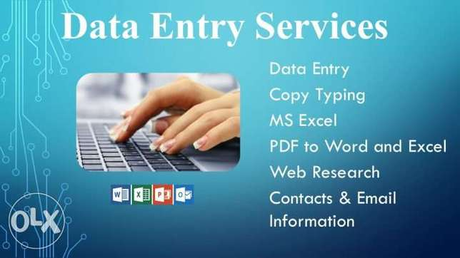 data entry, copy typing, free lancer (ms office,excel)