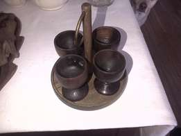 Wooden egg cups on holder