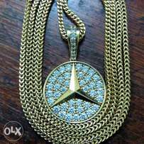 Snake chain and Mercedes Benz pendant