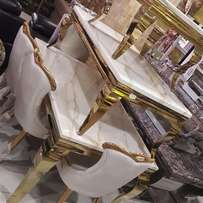 Executive mrble dining table and center table gold