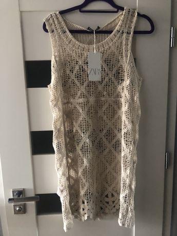biała sukienka na plażę biała haftowana zara