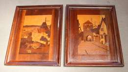2 vintage wood inlayed pictures