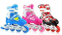 Roller Skates with Safety Pads and Helmet (Red, blue, pink)