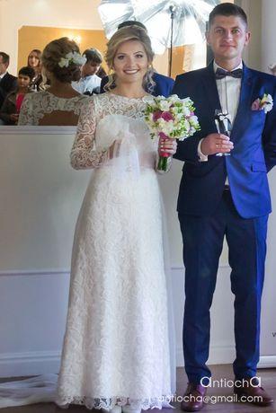 Suknia ślubna Z Koronki Odpinane Rękawy Doczepiany Muślinowy Tren