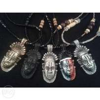 Benin African Tribal Mask Necklaces Mens Jewelry
