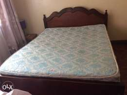Beautiful hardwood queen size bed with quality mattress
