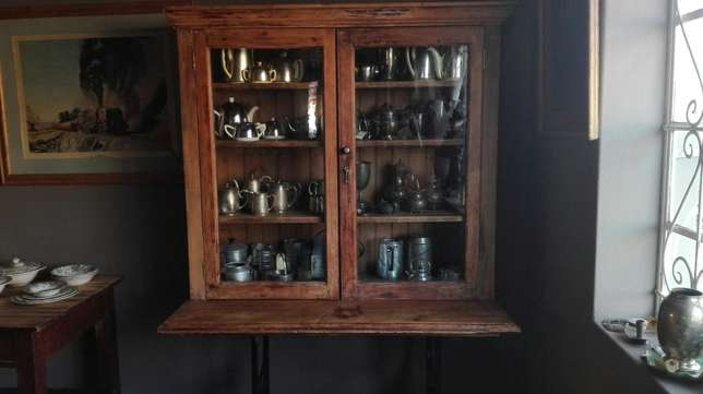 Yellow wood TOD trophy cabinet on industrial singerstand Randfontein - image 1