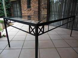 Wrought Iron and Glass Patio Table in Excellent Condition 180cm x100cm
