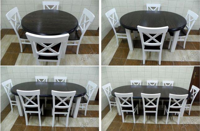 Stół Okrągły Rozkładany Biały Krzesła Bukowe Salon Jadalnia