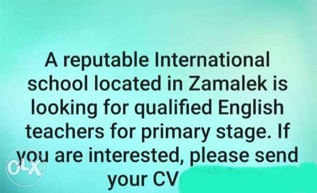English Teachers for international school primary stage are required