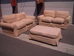 Lovely CORICRAFT SLIP COVER Fergie lounge suite and large OTTOMAN !