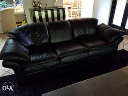 Black leather 3 seater coach for sale