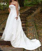 72dc696f27 Wyjątkowa suknia ślubna(38) z odczepianym trenem i bordowymi dodatkami