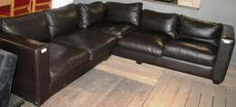 2 P/ce Dark Brown Leather Couch S024147A