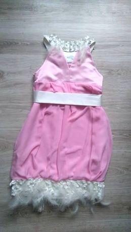 106de39a16 Sukienka bombka weselna piórka Różowa sukienka Sukienka na wesele Poraj -  image 6