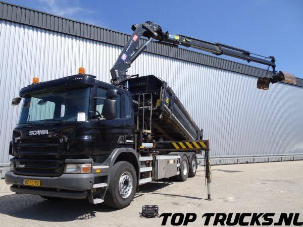 Scania P360, 3 zijdige kipper + HMF 2420 K3 kraan, Lift- Stuuras... - 2011