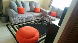 5 Seater grey and orange couch