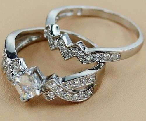Princess cut stone 2 pc brand new solid silver ring.size 7. Johannesburg - image 3