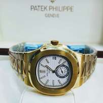 patek philippe nautilus gold wrist watch