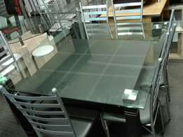 Glass table with 6chairs