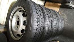 4 Brand new chev utility bakkie rims tyres and cent caps.