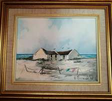 Original Oil Painting of Fisherman's Cottage by Helena Mommen