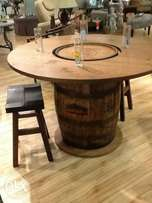 Trendy Whiskey Table Barrels
