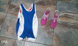 wrestling suit and shoes