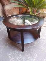 Round Coffee Table with Glass Top (DM765xH460)