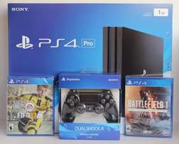 PS4 Pro Console 1gb Comes with 2 Controllers and 2 Games