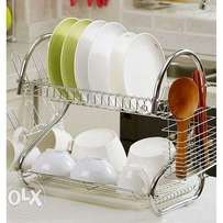 Dish Rack - 2 Tier Stainless Steel - with Drain Board- Silver