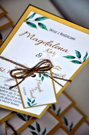 Zaproszenie ślub Liście Eukaliptusazłote Kartyzłote Napisy Nowa
