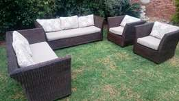 4 Piece Rattan Patio set with cushions