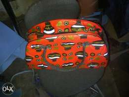Custom made ankara khaki bags
