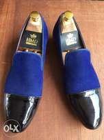 Hmdcouture velvet and patent leather loafers